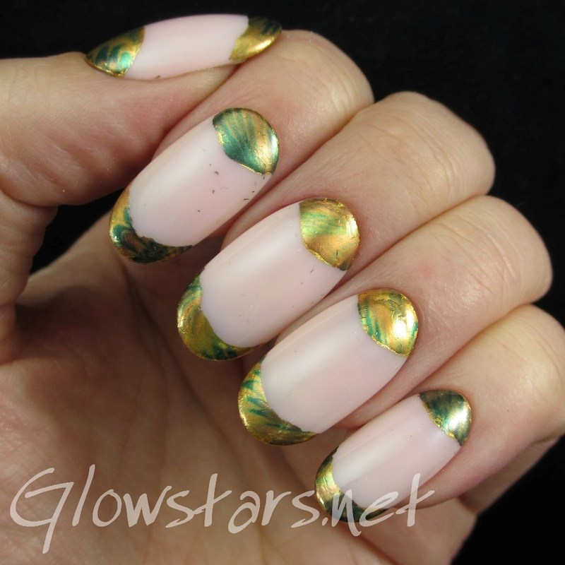 Foil French and Half Moons nail art by Vic 'Glowstars' Pires