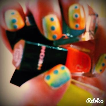 Ombre Summer Neon nail art by Helianna
