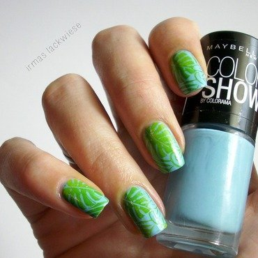 tropical gradient stampng nail art by irma