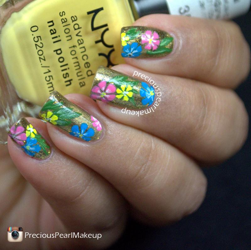 Mixed Floral Nails nail art by Pearl P.