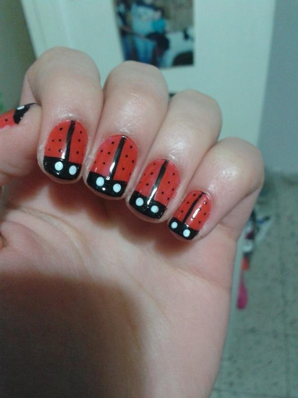 ladybug nail art by Maya Harran