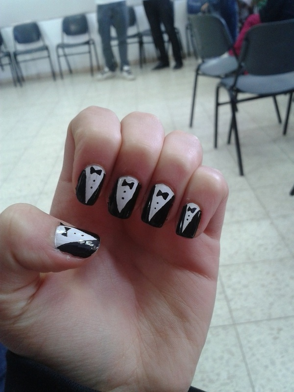 tuxedo nail art by Maya Harran