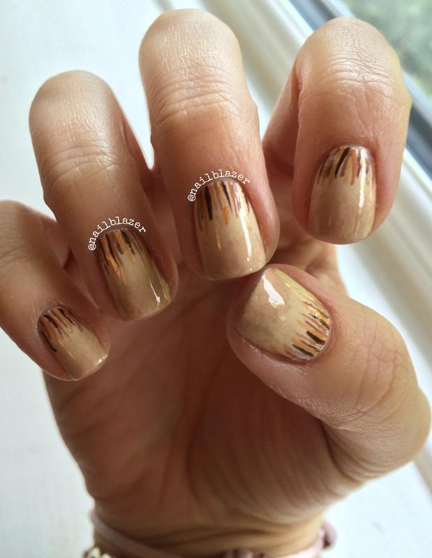Coffee Waterfall nail art by Nailblazer