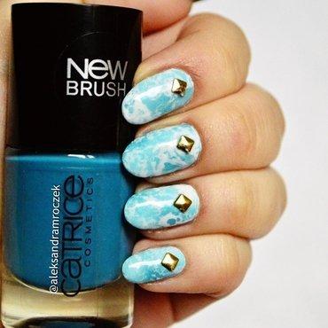blue sky... nail art by Aleksandra Mroczek
