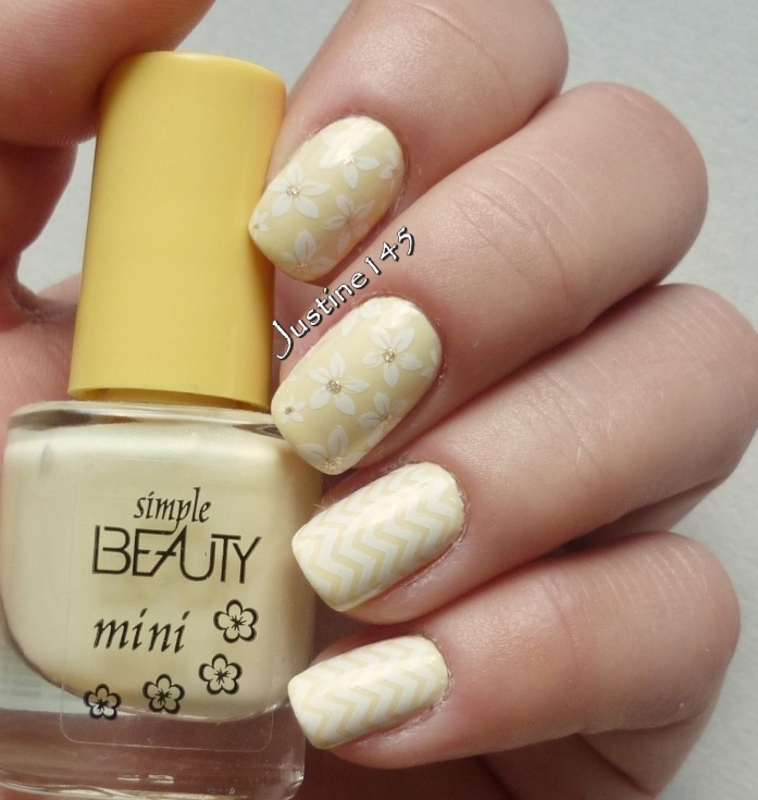 pastel yellow nail art by Justine145