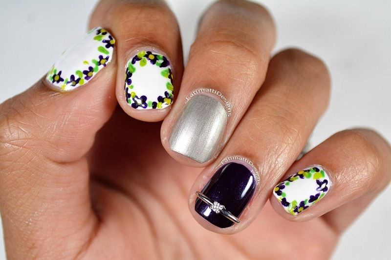 Violet Engagement nail art by Fatimah
