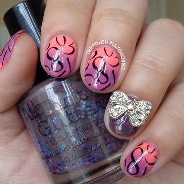 Pink and Purple Gradient with Number Stamping nail art by Lisa N