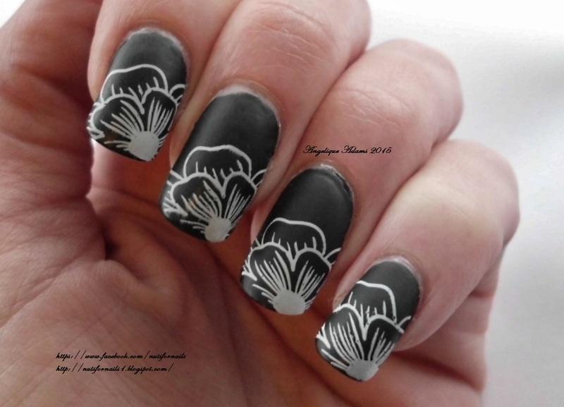 Black Matte Floral Tips  nail art by Angelique Adams