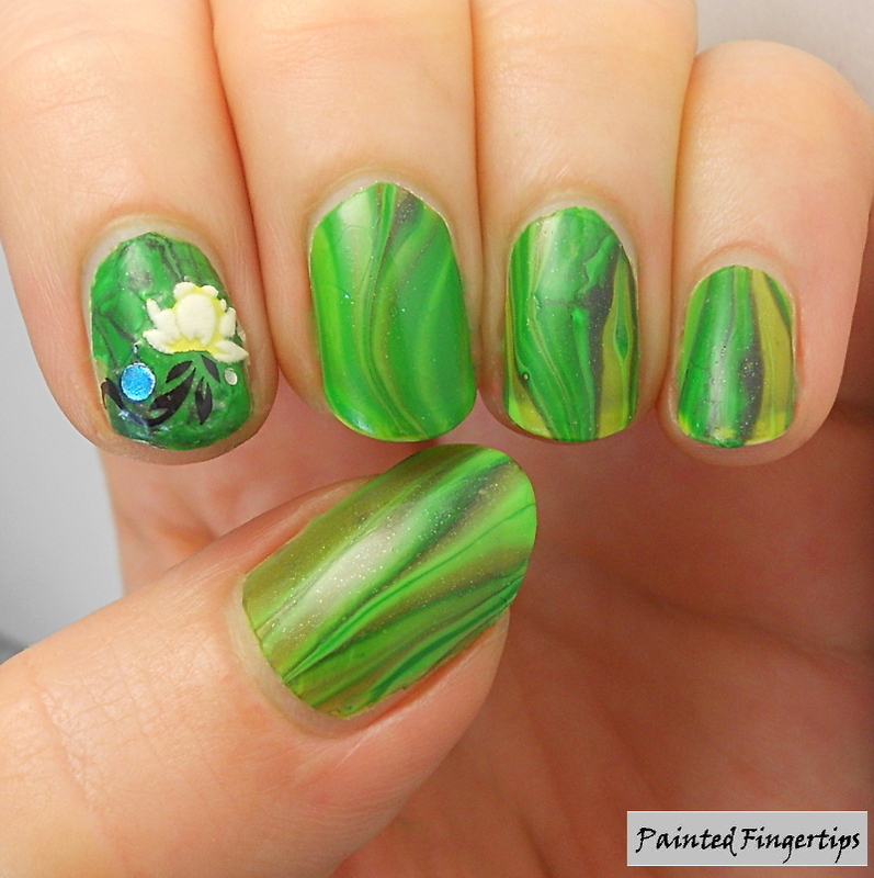 Water Marble Nail Polish Brands India: Water Marble: Field Of Grass Nail Art By Kerry_Fingertips