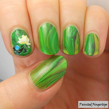 Water Marble: Field of Grass nail art by Kerry_Fingertips