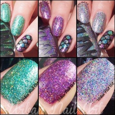 UNA 'Dance Raven' swatches nail art by Lou