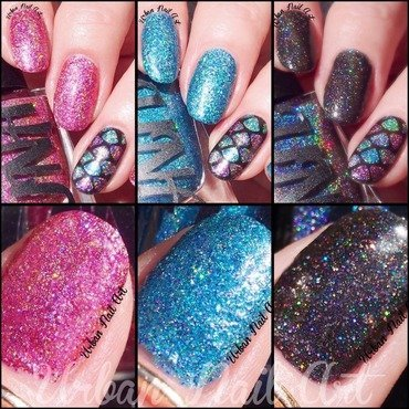 UNA 'Dance Raven' swatches, part 2 nail art by Lou