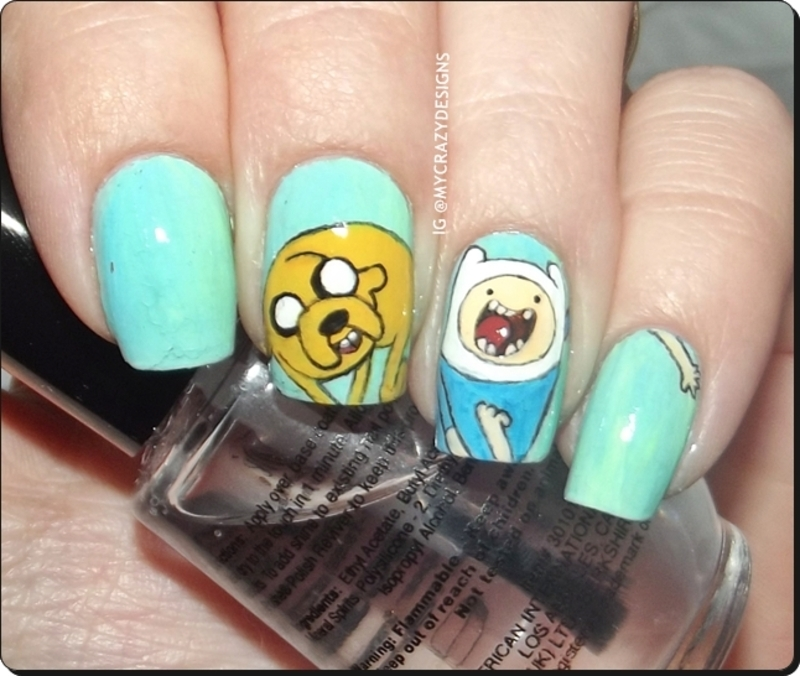 Adventure Time nails nail art by Mycrazydesigns