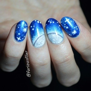 Once in a blue moon nail art by Furious Filer