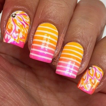 Funky Flowers and Stripes nail art by JMura_Designs