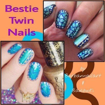 Twin nails with my friend nail art by Lou