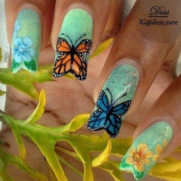 Winged Beauties  nail art by Dess_sure