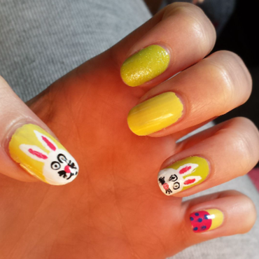 Easter Bunny/Egg  nail art by QueenCL