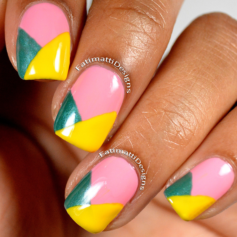 Color Block French Tips nail art by Fatimah