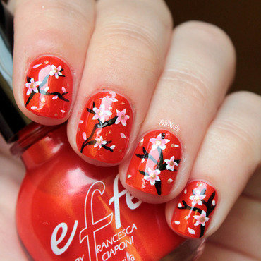 Cherry Blossom Nails nail art by Fran Nails