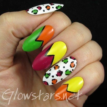 Leopard Print and Colour Blocking nail art by Vic 'Glowstars' Pires