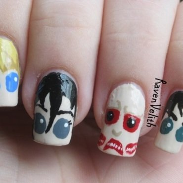 Attack on Titan inspired by IHaveaCupcake nail art by Lynni V.