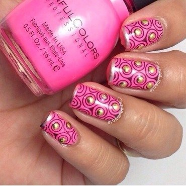 Edgy neon pink nail art by anas_manis