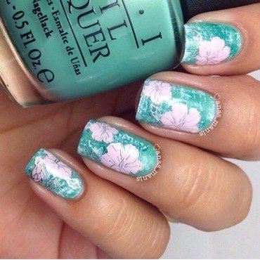 Pink flower decals nail art by anas_manis