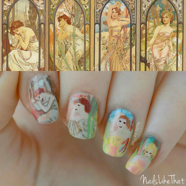 Mucha nails nail art by Nicole M