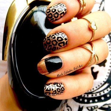 COPPER LEOPARD nail art by Marla Calandra
