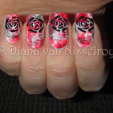 Dry Brush with roses nail art by Diana van Nisselroy