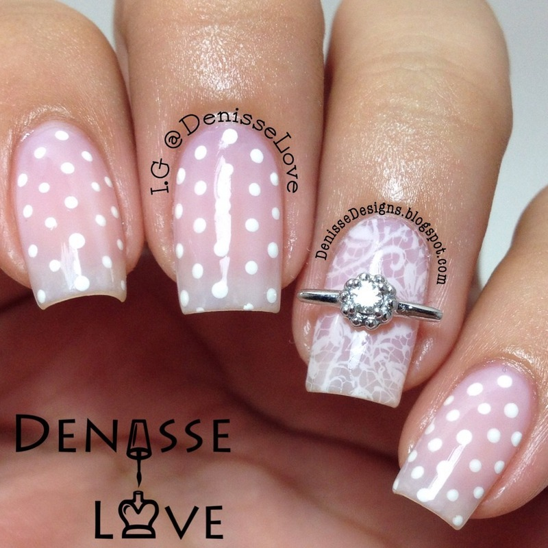 Polka Dots & Lace nail art by Denisse Love