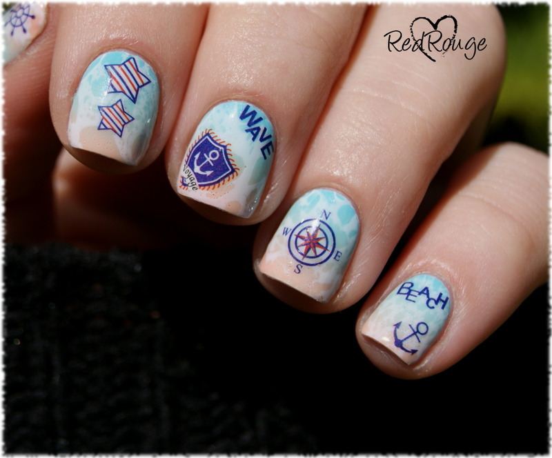beach nails nail art by RedRouge