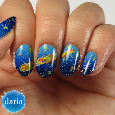 Starry night, make a wish nail art by Daria B.