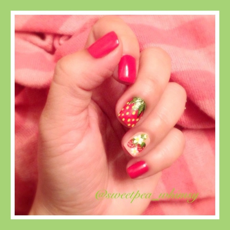 Strawberries & Cream (TBT) nail art by SweetPea_Whimsy