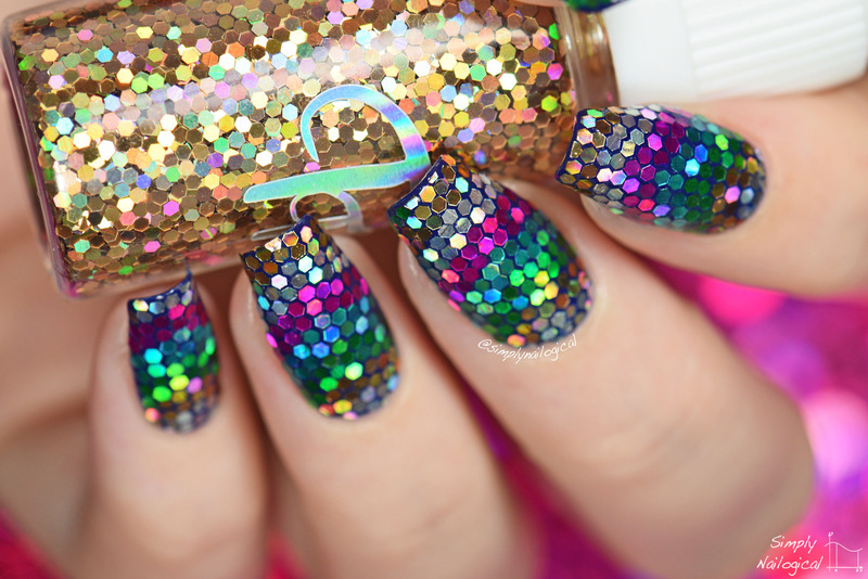 Rainbow holo glitter placement nail art by simplynailogical