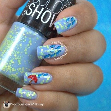 April Showers nail art by Pearl P.