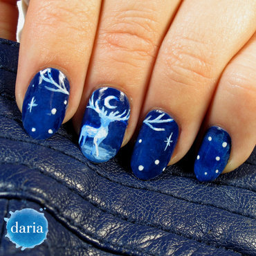 Blue deer nail art by Daria B.