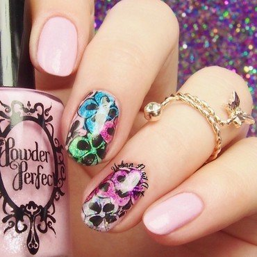 Floral Reverse Staming nail art by Lou
