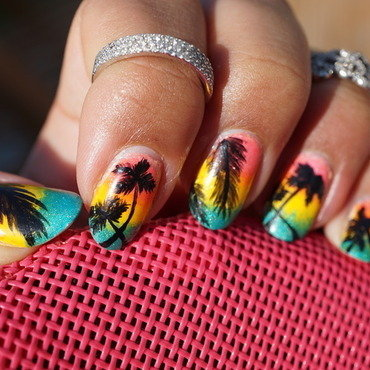tropical nail art by Cathy Neves