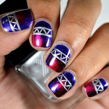 Tribal On Galaxy Ombre nail art by Fatimah