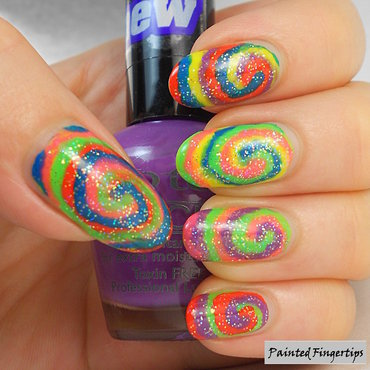 Neon spirals nail art by Kerry_Fingertips