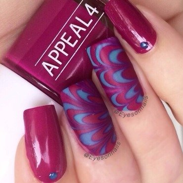Water marble  nail art by Virginia