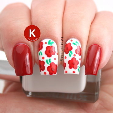 Red, orange and green dotted flowers nail art by Claire Kerr