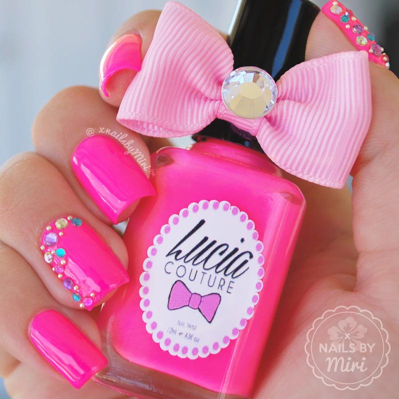 Hot Pink mani with Diamonds nail art by xNailsByMiri