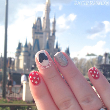 Disney Nails in front of the castle nail art by Erin