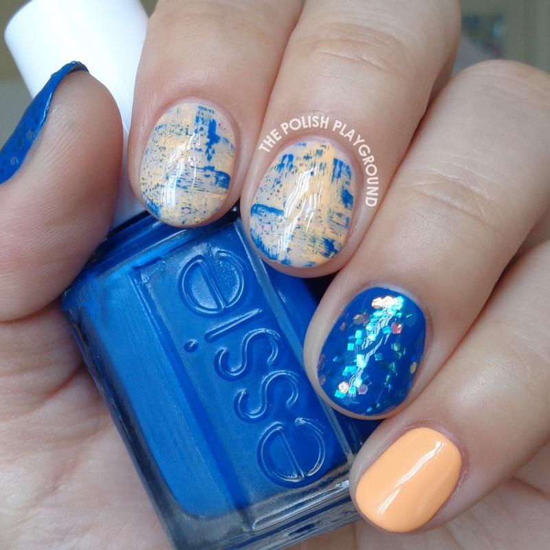 Blue and Orange Brushstroke Skittle nail art by Lisa N