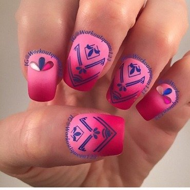 Pink and Red Gradient with arrows nail art by Workoutqueen123