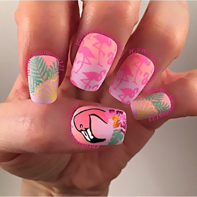 Flamingos nail art by Workoutqueen123