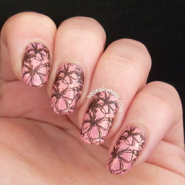 Florals and Flakies  nail art by Squeaky  Nails